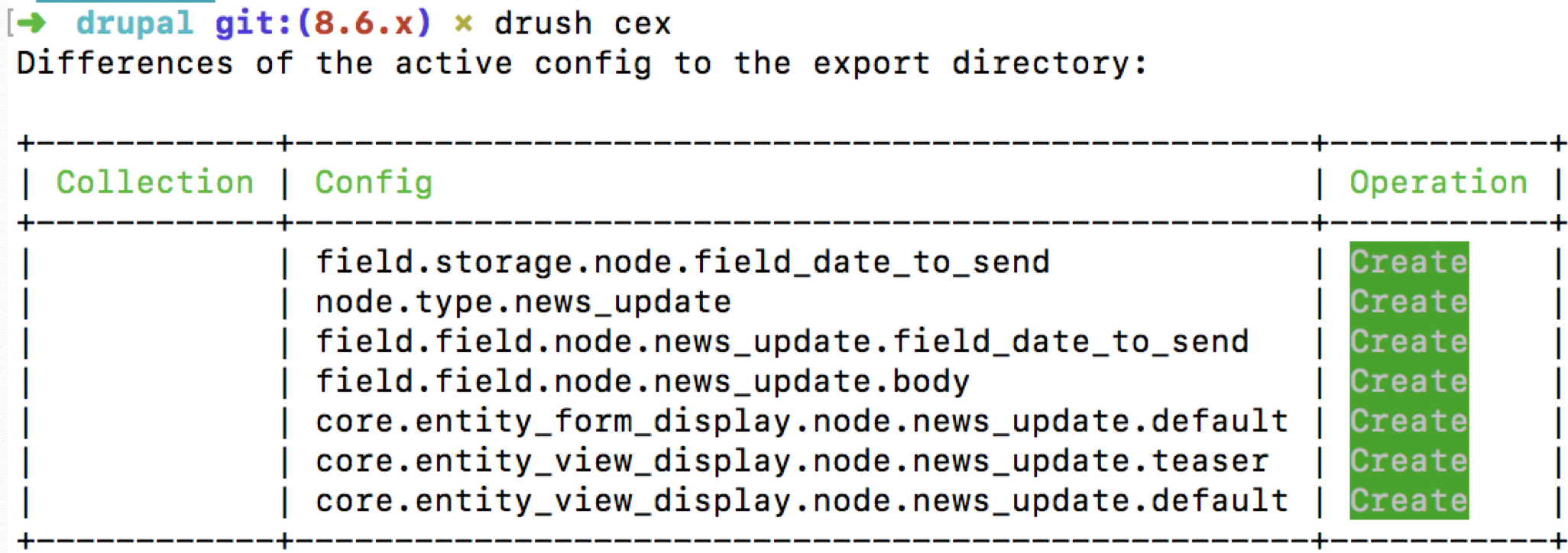 example configuration export