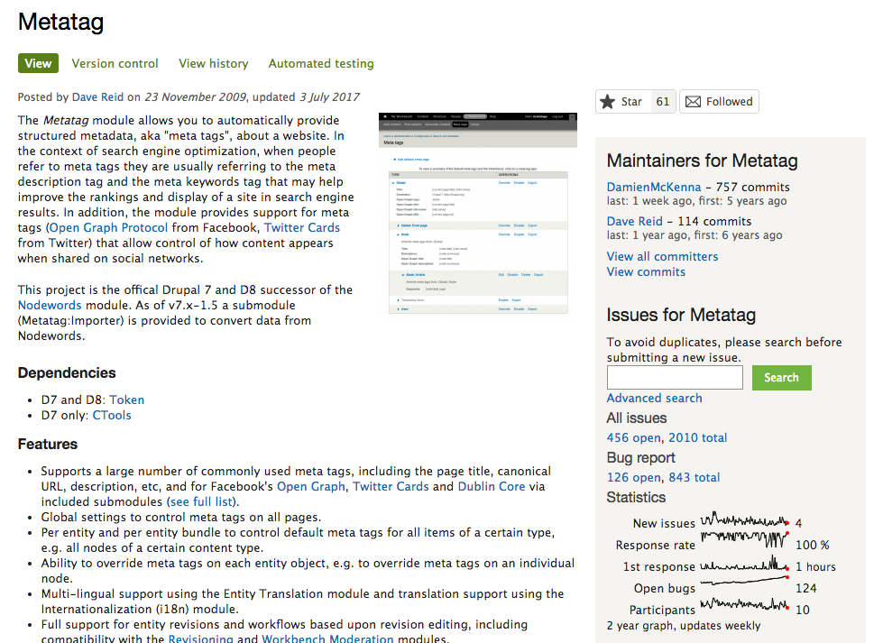Metatag page on Drupal.org