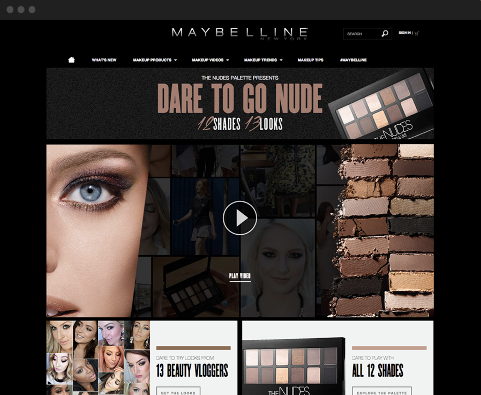 Maybelline nude makeup campaign features dramatic eyeshadow