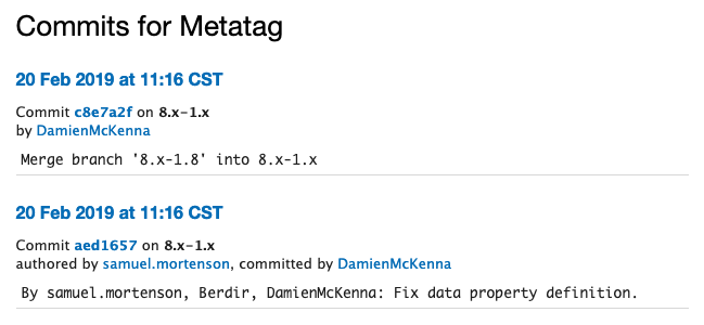 commits for Metatag