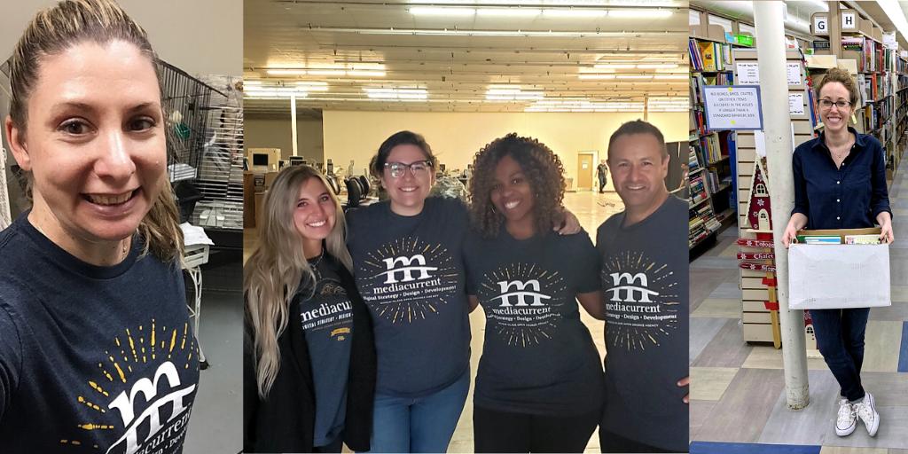 Mediacurrent team volunteering at bird rescue, library, and Angel Tree Atlanta