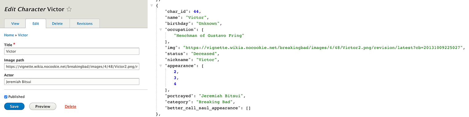 Characters import from JSON into Drupal