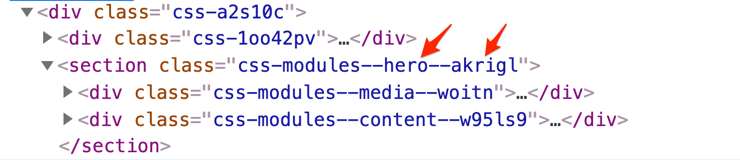 Example of HTML code through dev tools