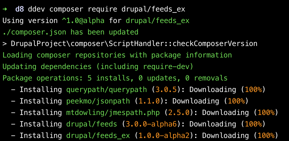 Composer require feeds module