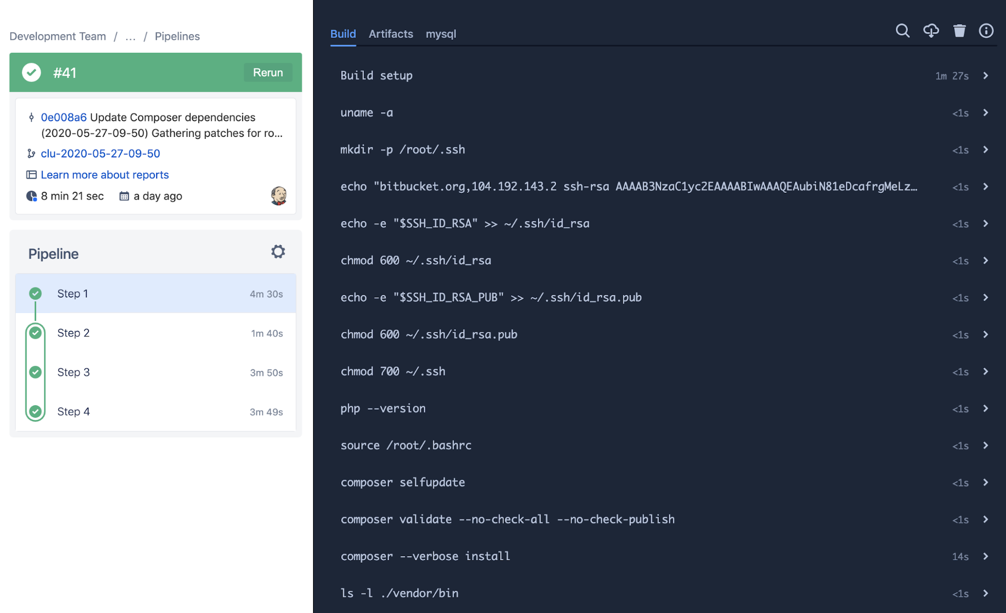 Automated tests output in Bitbucket