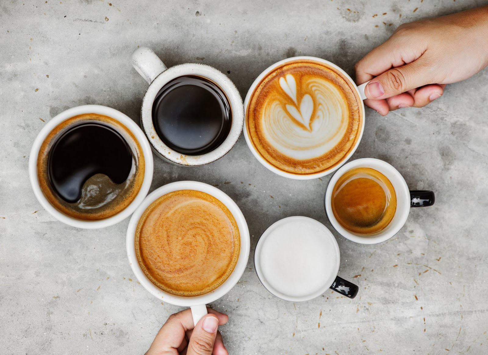 6 cups of coffee in different colors