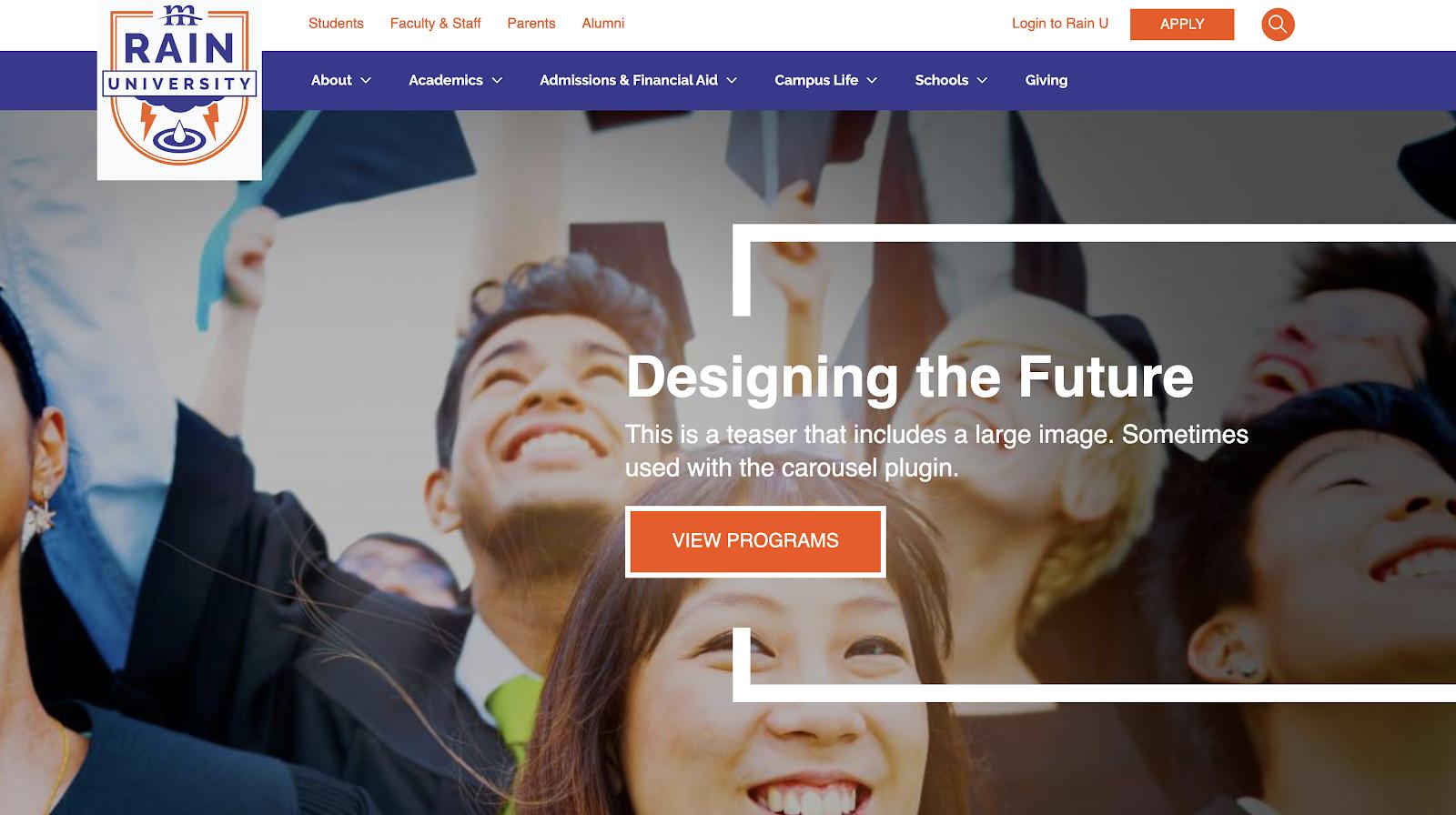 RainU CMS for Drupal homepage