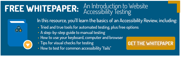 Get the Whitepaer: An Introduction to Website Accessibility Testing