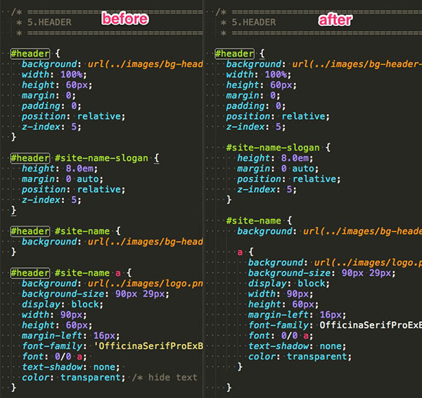 Before and after with nested code