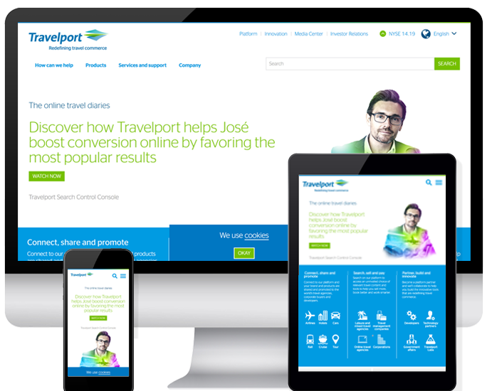 Mediacurrent's work on Travelport.com shown on desktop, mobile, and tablet screens