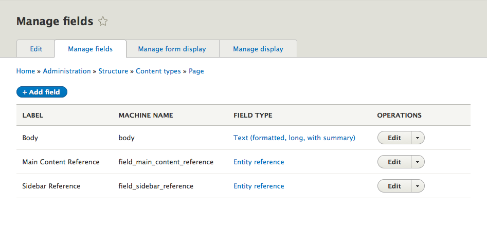 Manage Fields page