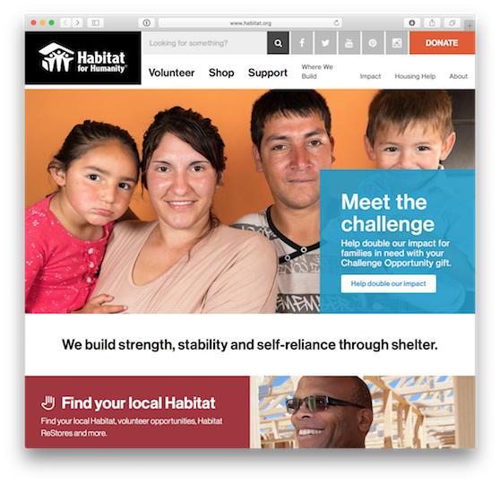 The Habitat front page.