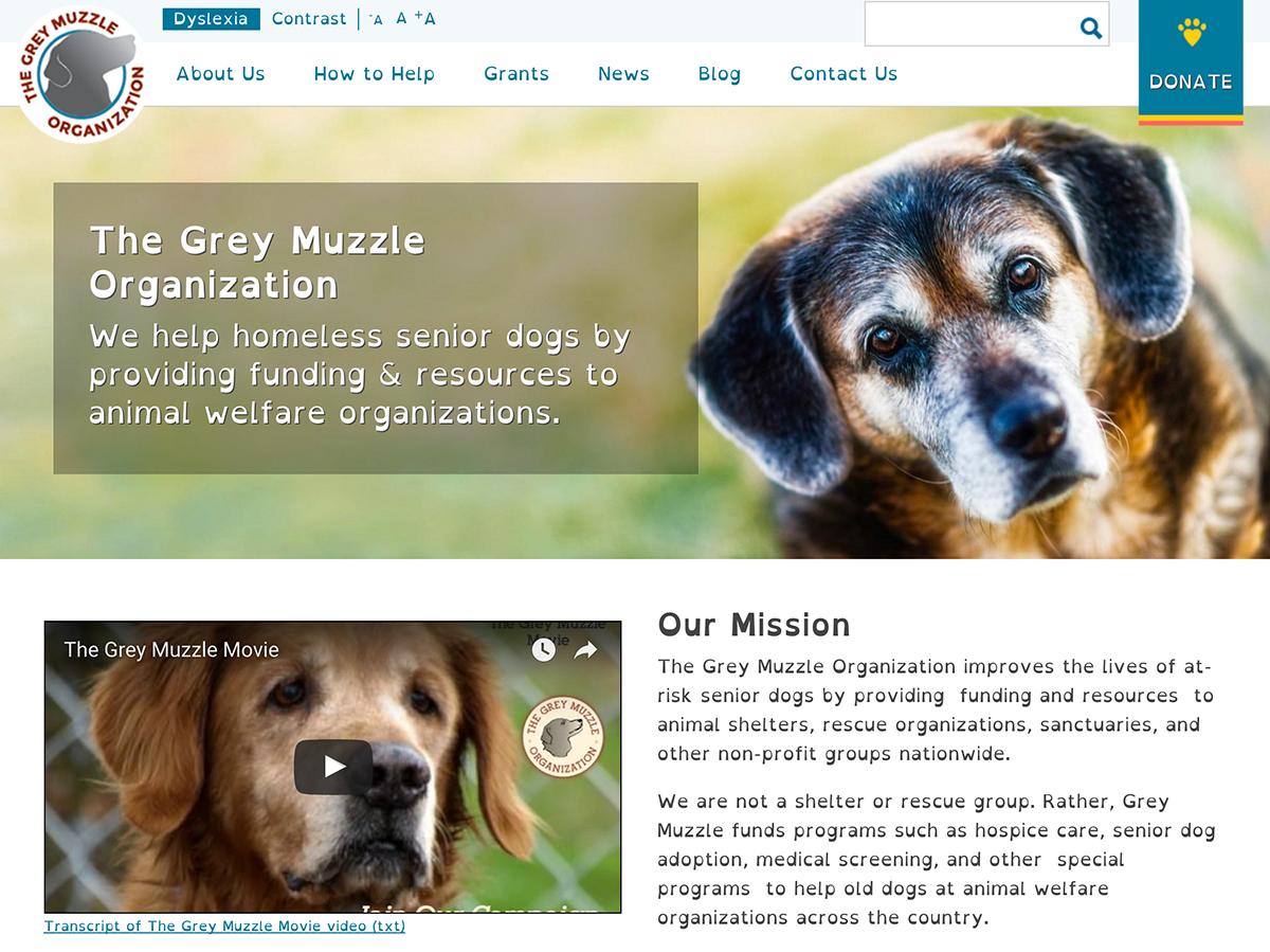 Grey Muzzle site showing dyslexia font