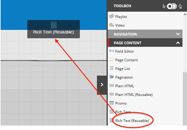 Sitecore's drag and drop authoring interface
