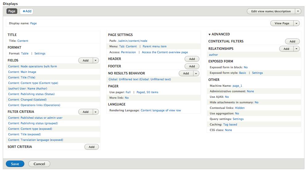 Drupal's Views configuration UI