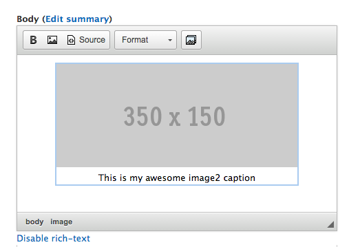 Image2 Plugin nicely formats the caption with the image inside the WYSIWYG