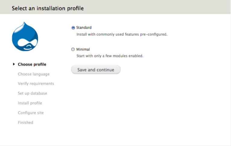 Drupal Install profile screen