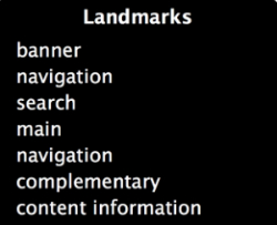 Screenshot of landmarks that VoiceOver would read to user