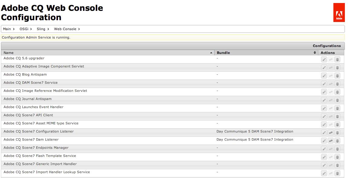 Adobe CQ Web Console Configuration