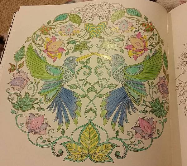 Colored line art of two birds surrounded by flowers by Johanna Basford