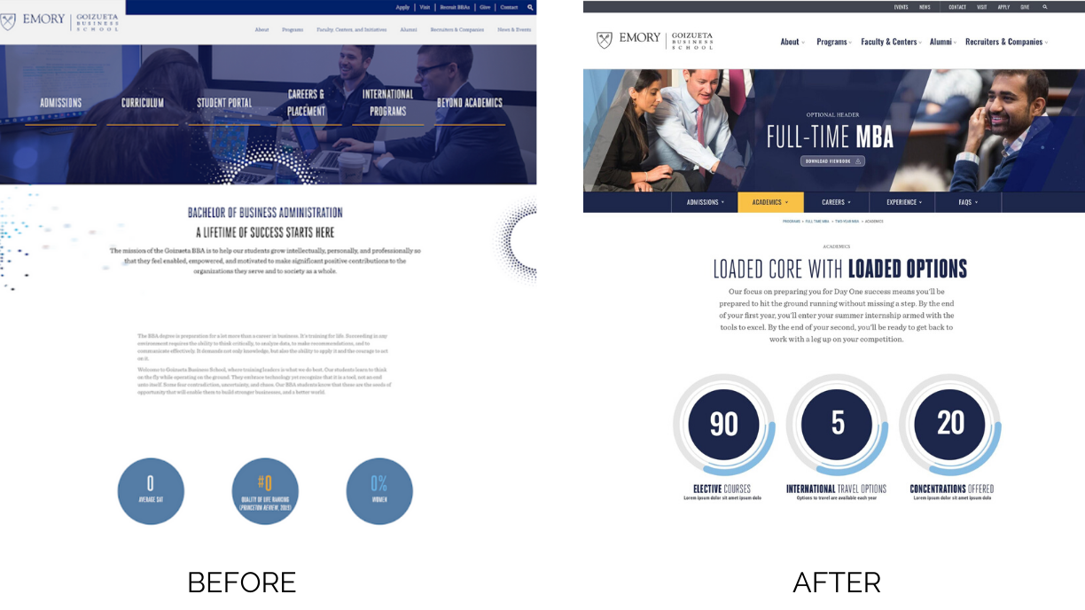 Emory homepage before and after