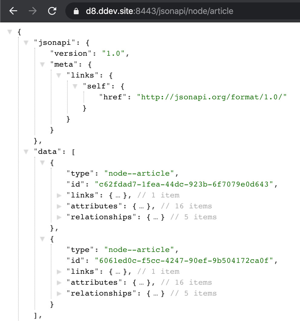 Drupal articles in the JSON API response