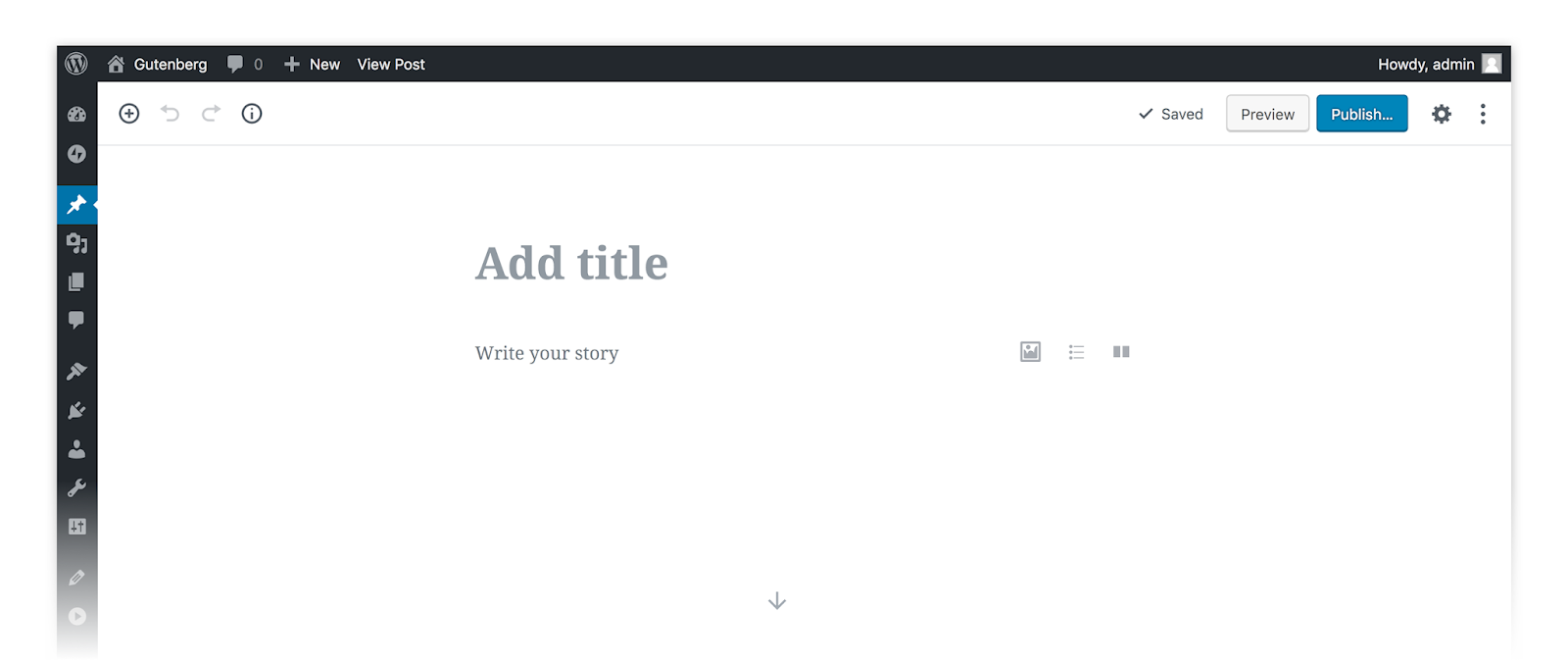 screenshot of empty Gutenberg editor