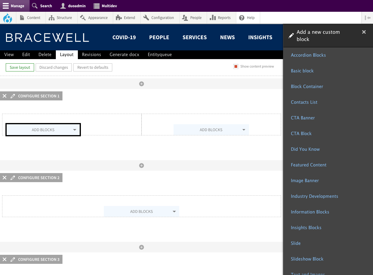 Drupal layout builder showing the ability to add a new custom block
