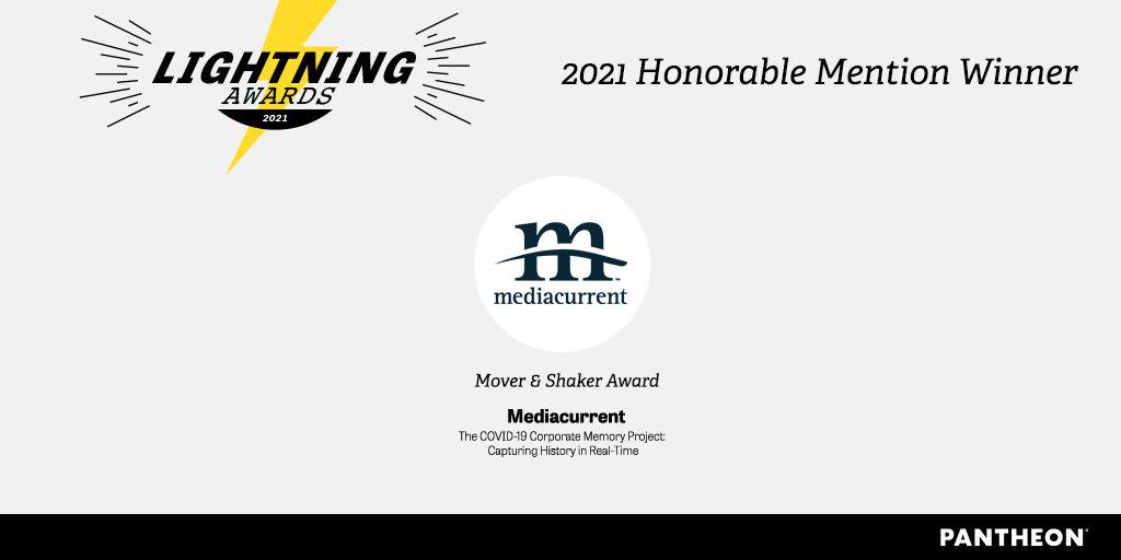 Pantheon Lightning Award certificate