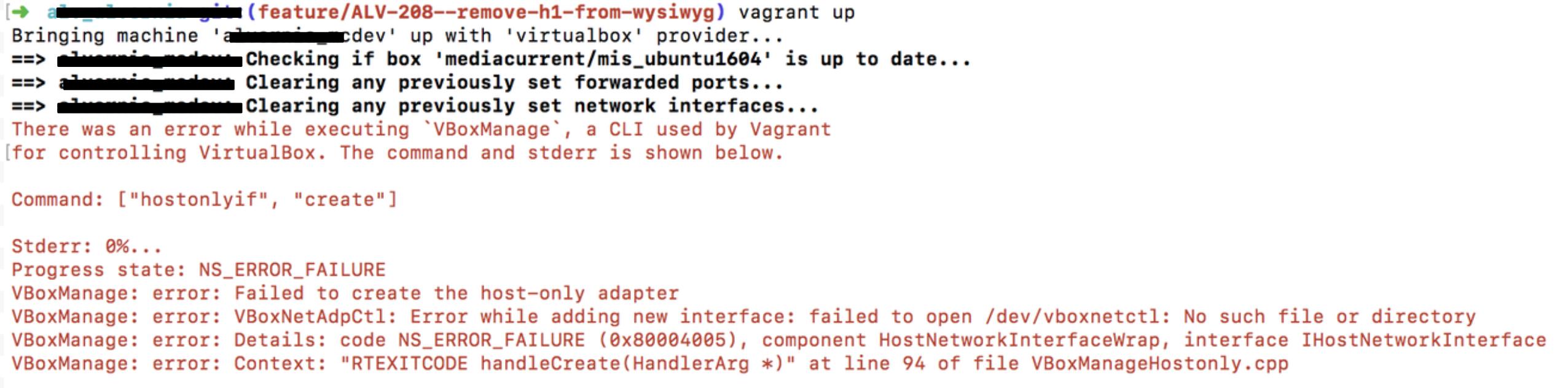 VBox error manage failure