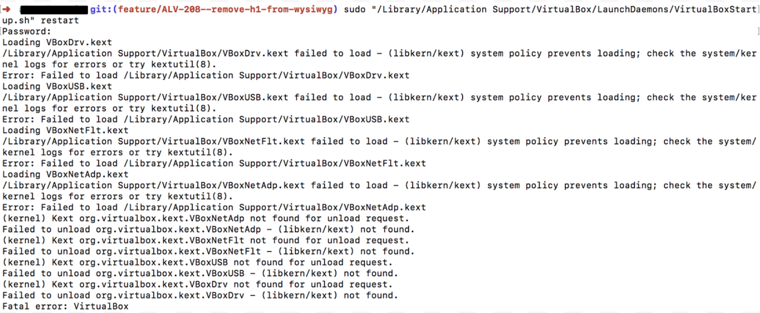 VBOX errors