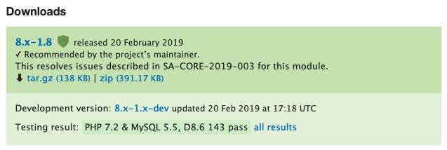 Metatag module release status 8.x
