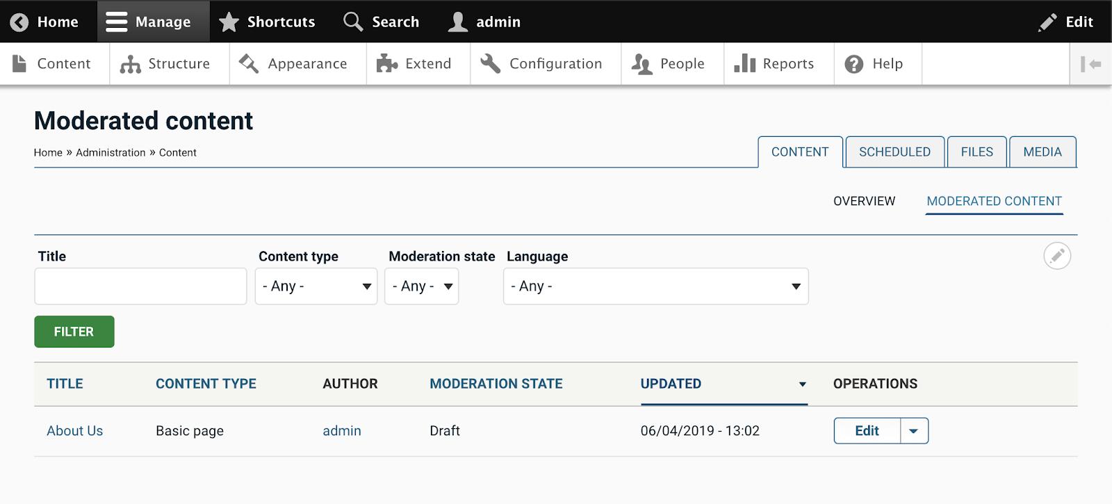 Admin content screen