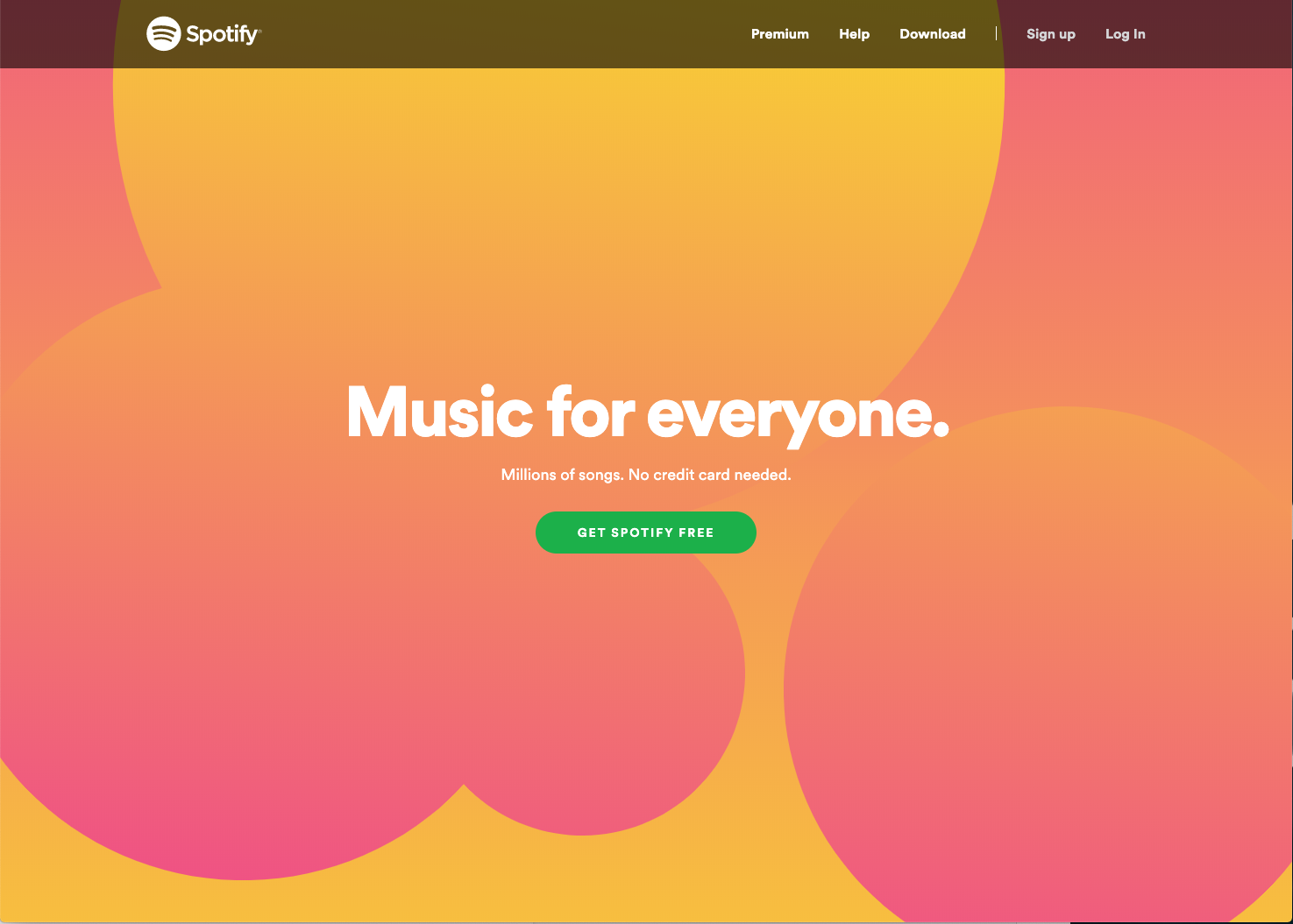 screen shot of Spotify homepage