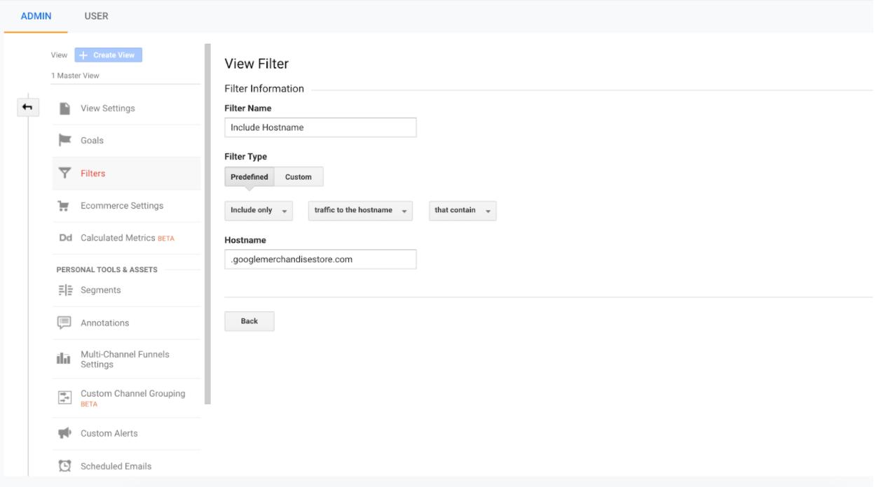 Google Analytics hostname filter report