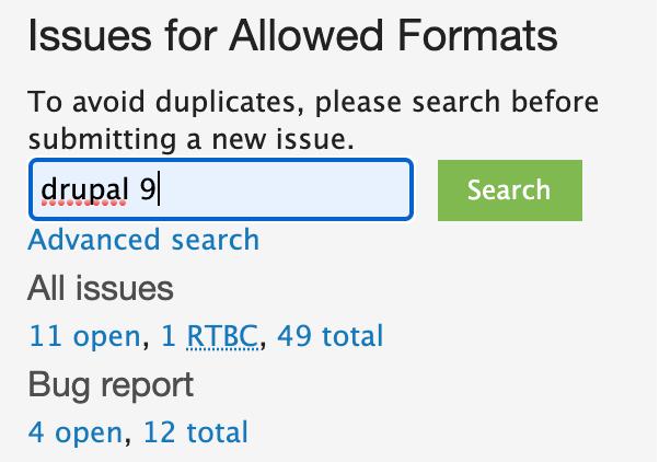 Allowed Formats module drupal 9 issue search
