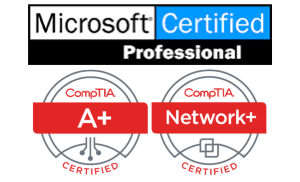 MCP from Microsoft, A+ from CompTIA, Network+ from CompTIA