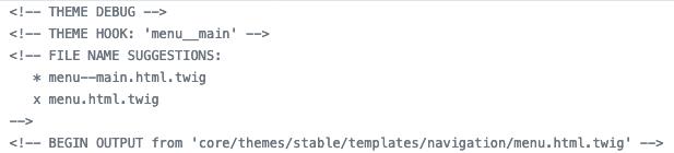 Example of twig debugging code.