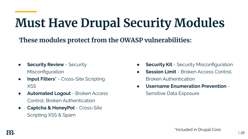 these Drupal modules protect from OSWAP