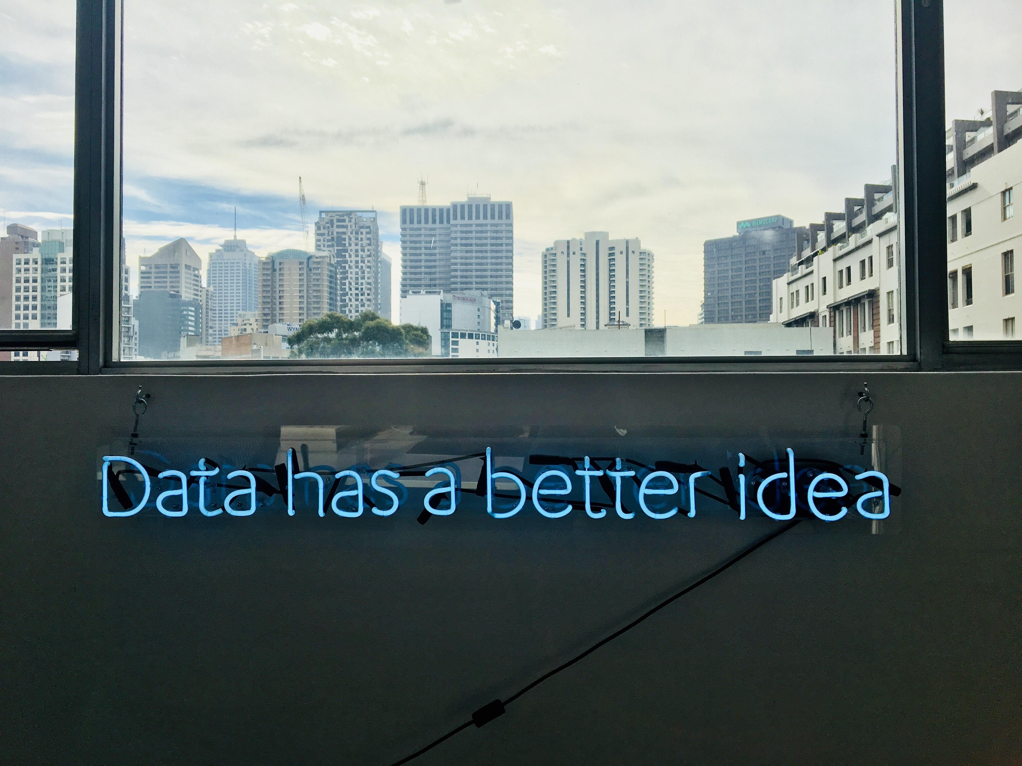 Neon sign reading data has a better idea