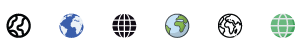 different styles of globe icons