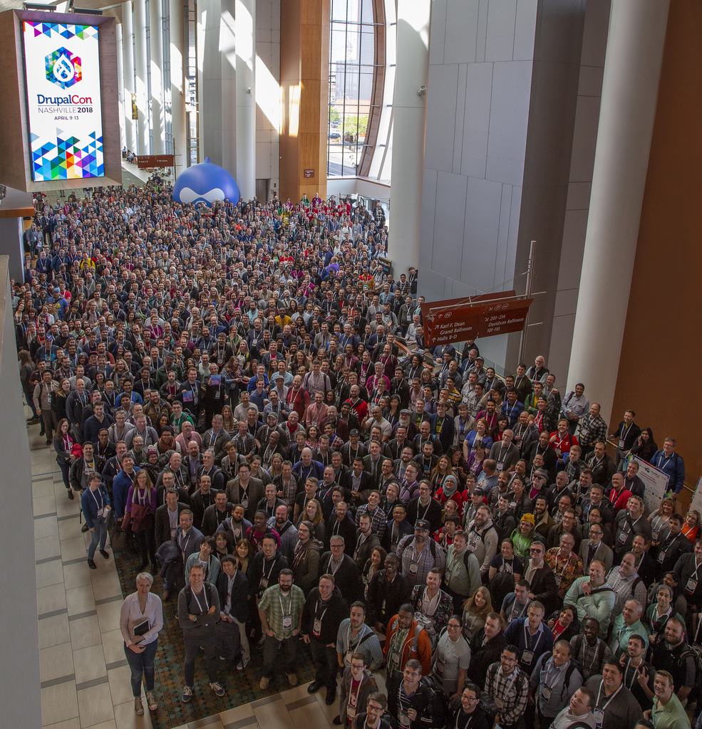 DrupalCon 2018 conference aerial group shot