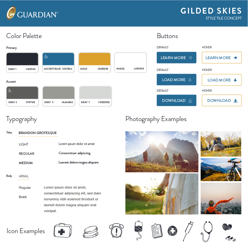 style tile features photography examples and a gray, blue, and gold palette