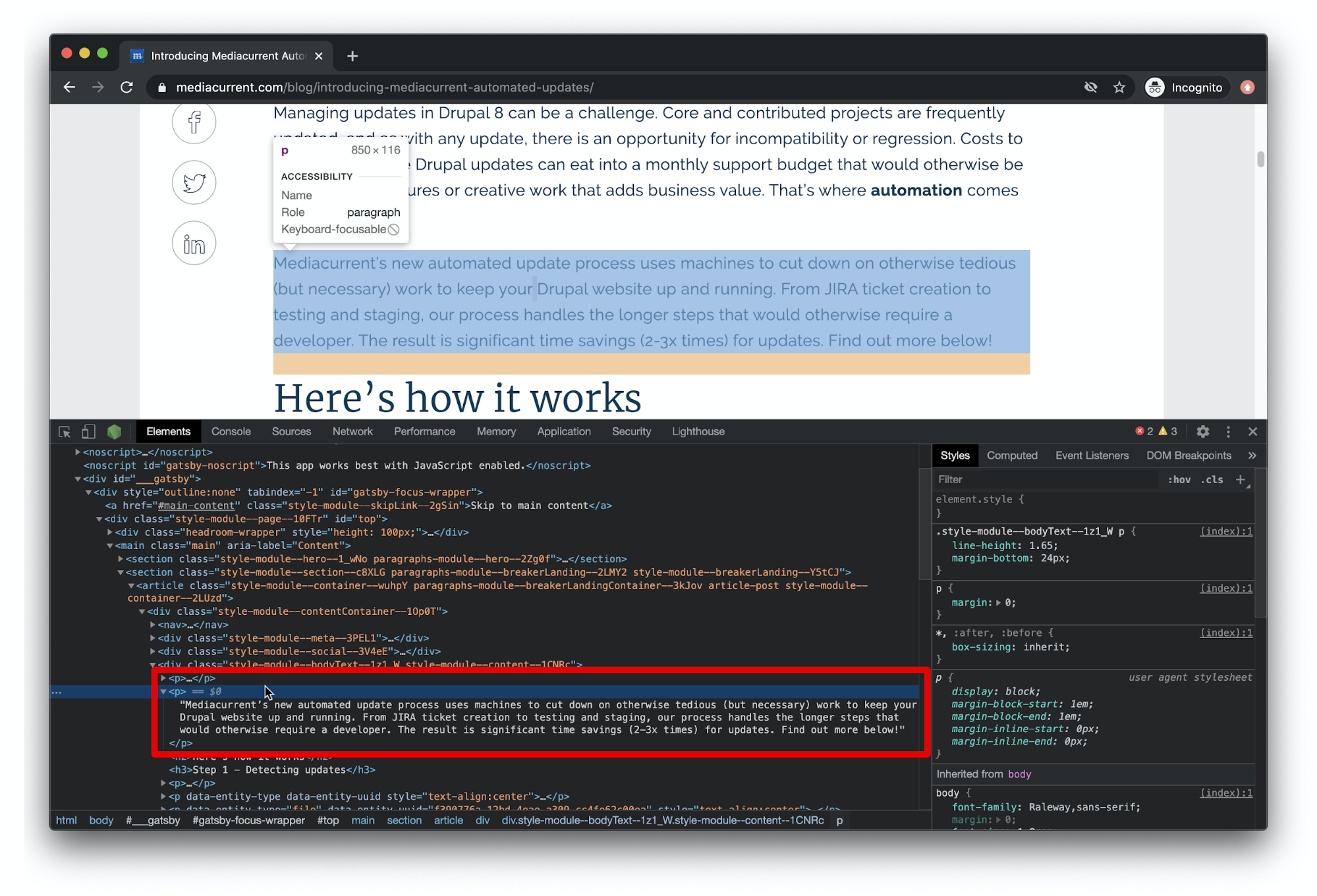 A screenshot of developer tools being used to highlight a paragraph element