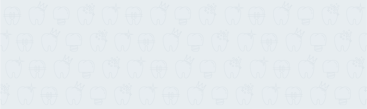icons of teeth on a light blue background