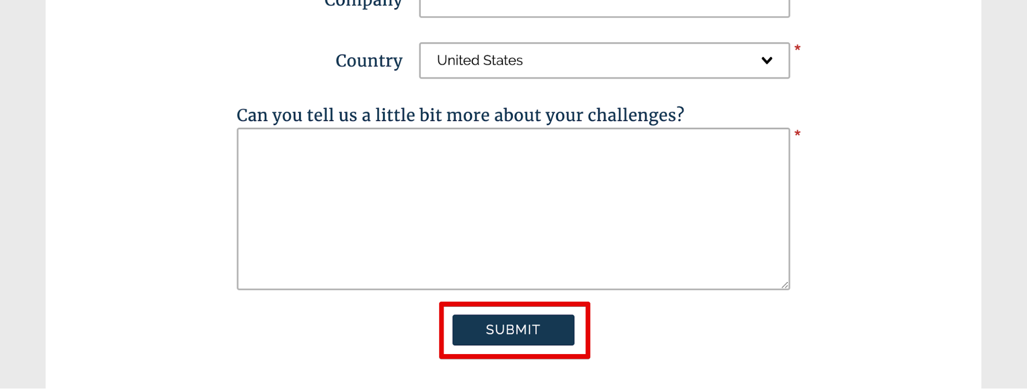 A 'submit' button on a form