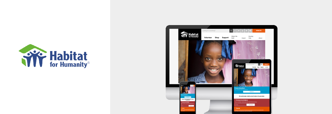 Habitat for Humanity logo and Drupal 8 website homepage on mobile, desktop screens