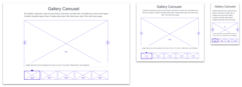 gallery carousel components for desktop, tablet, and mobile