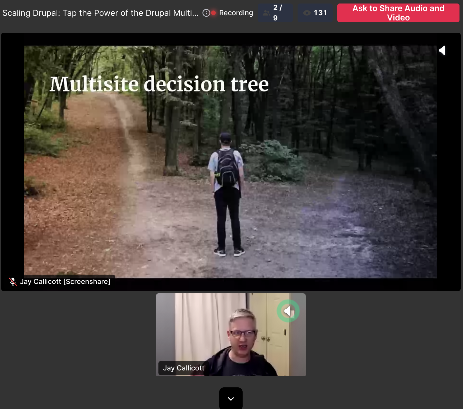 Drupal multisite presentation slide shows a decision tree
