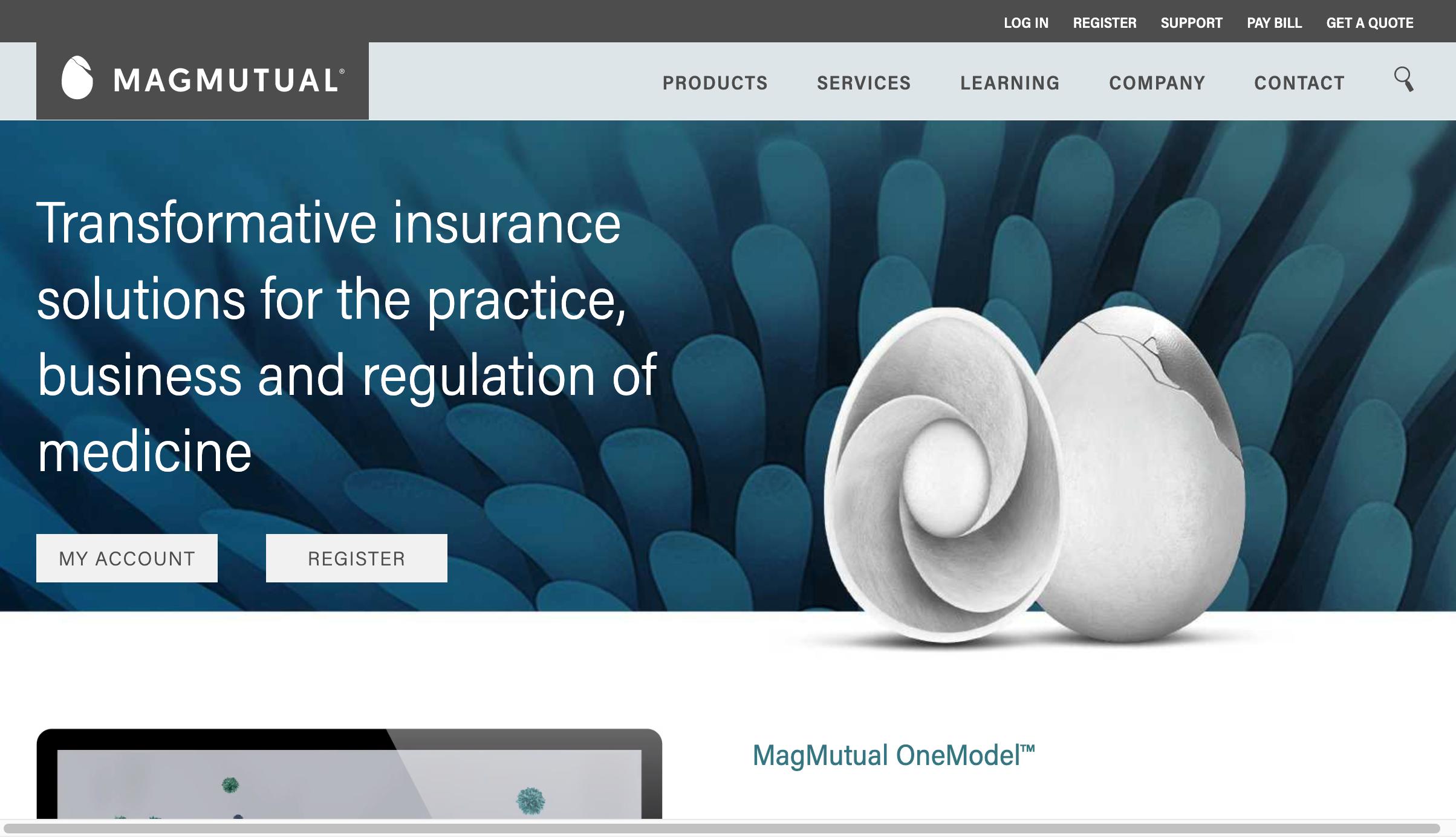 Screenshot of MagMutual's homepage
